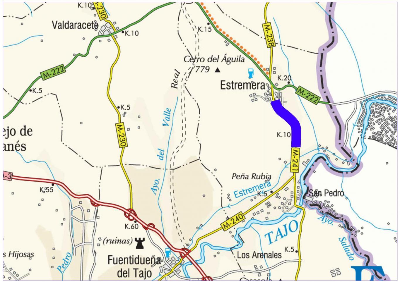 Plano de situación de la obra M-241 pk 9,000-12,550