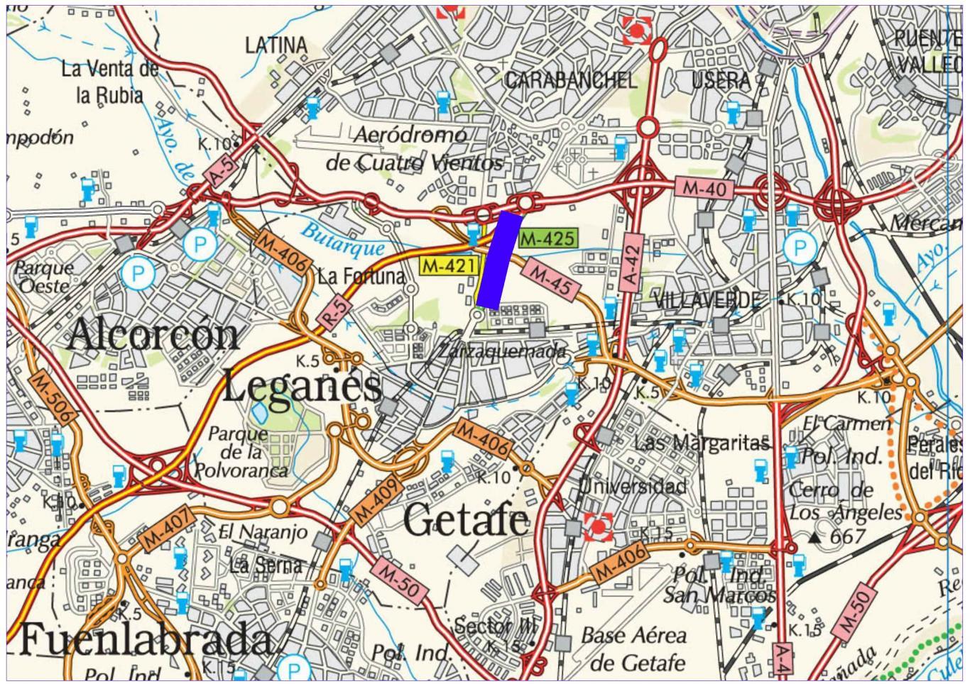 Plano de situación de la obra M-425 pk 0,000-1,830