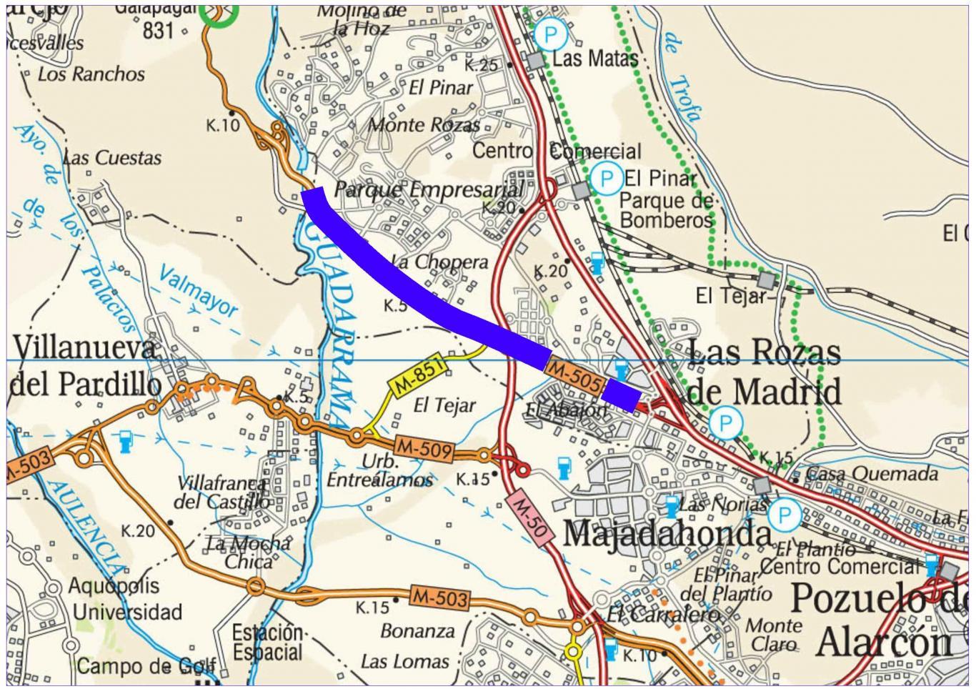 Plano de situación de la obra M-505 pk 0,000-8,500