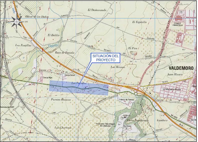 Plano de situación de la obra en la carretera M-404