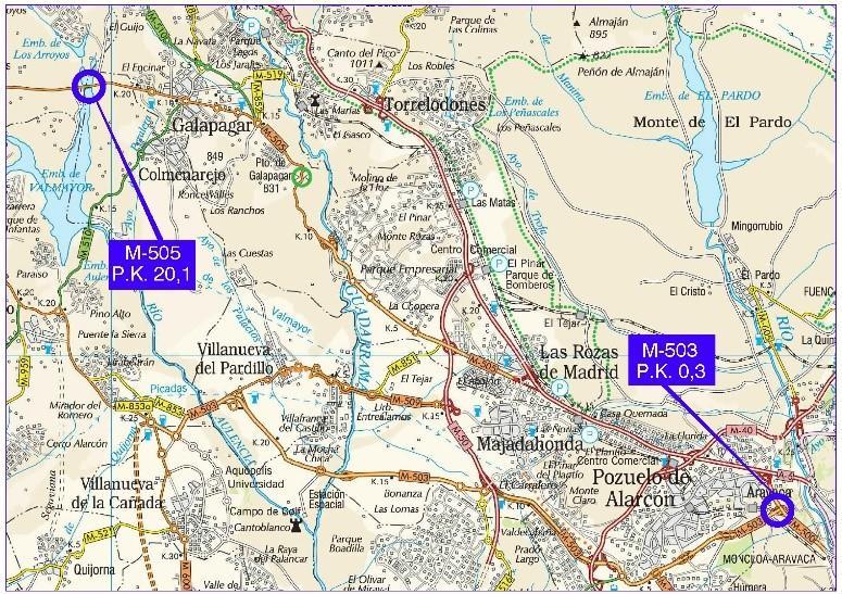 Plano de situación de la obra adecuación puentes M-503 y M-505