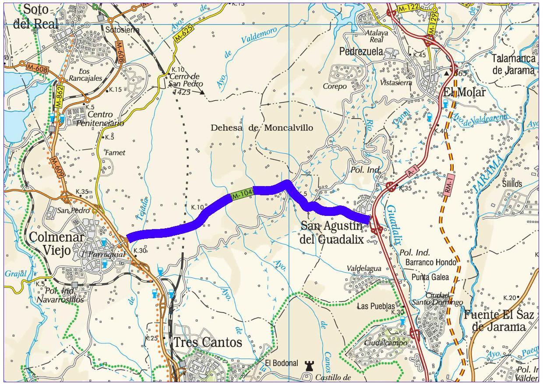 Mapa de situación de la actuación en la carretera M-104