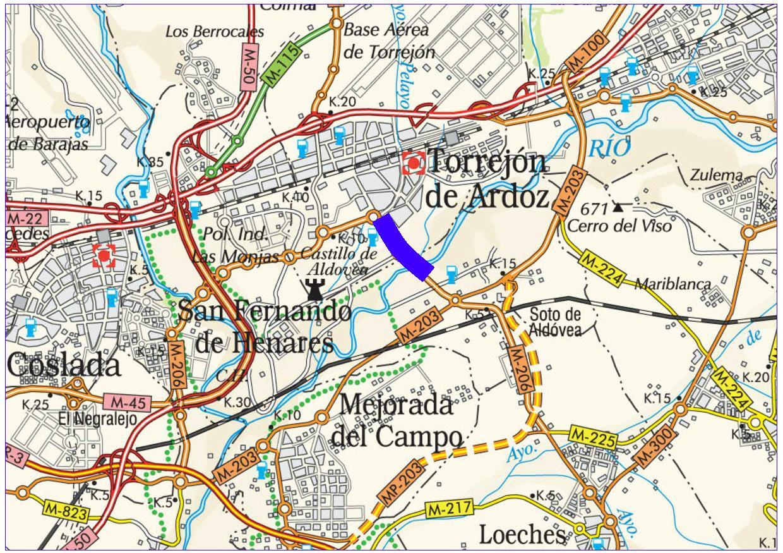 Mapa de situación de la actuación en la carretera M-206