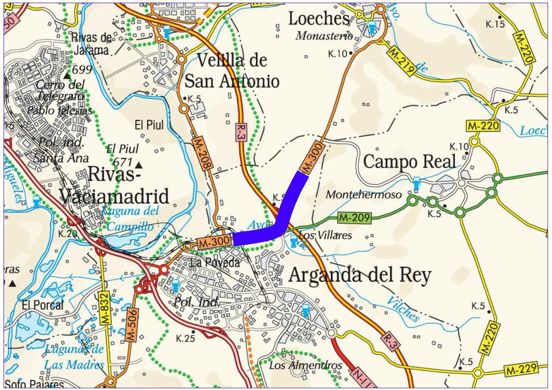 Mapa de situación de la actuación en la carretera M-300