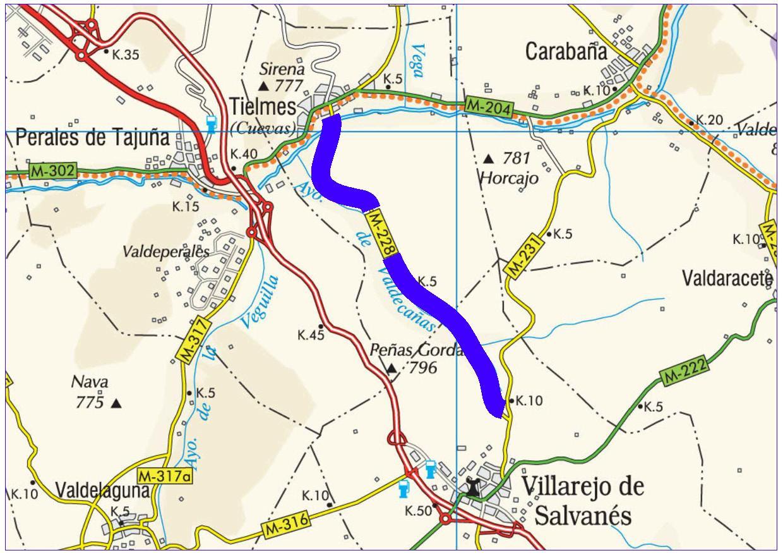 Mapa de situación de la actuación en la carretera M-228