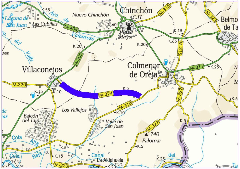 Mapa de situación de la actuación en la carretera M-324