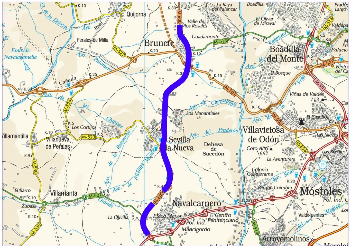 Mapa de situación de la actuación en la carretera M-600
