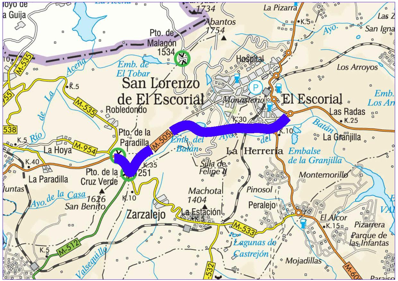 Mapa de situación de la actuación en la carretera M-505