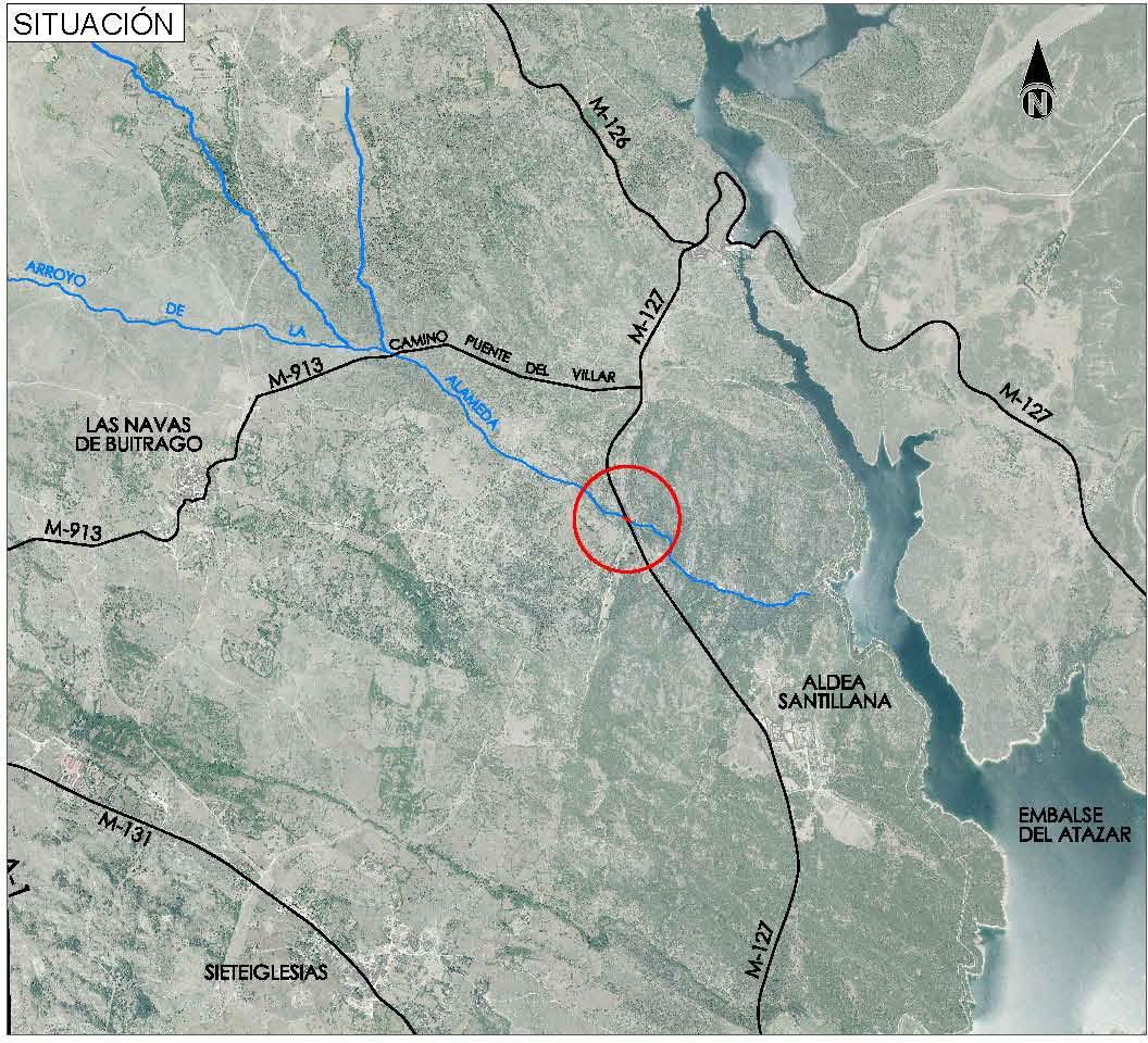 Plano de situación de la obra en la carretera M-127