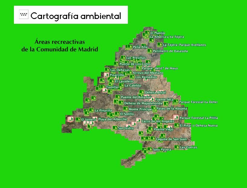 Mapa acceso cartografía de las áreas recreativas