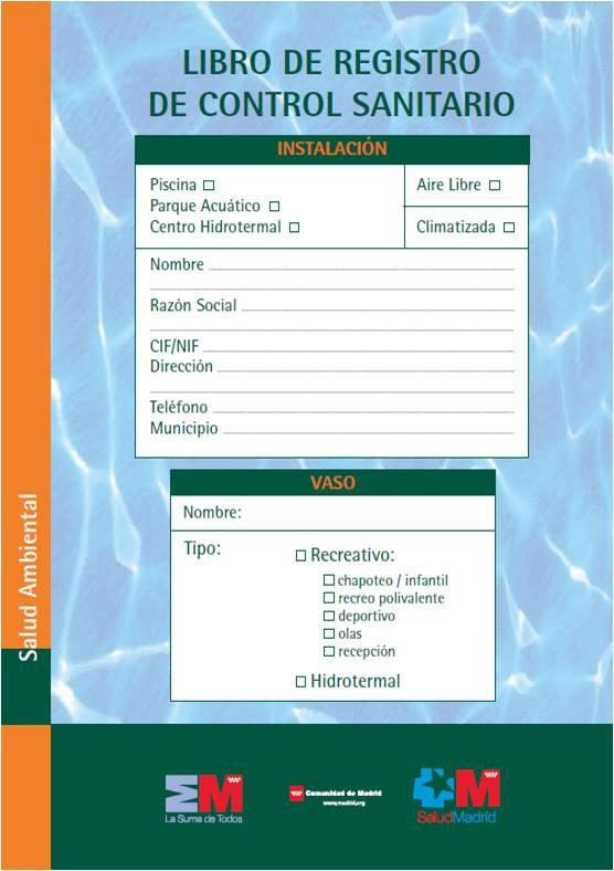 Imagen de la portada del Libro de registro de control sanitario de las piscinas de la Comunidad de Madrid