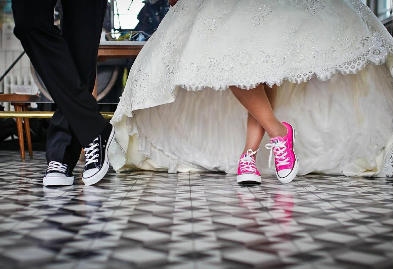 pareja con zapatillas