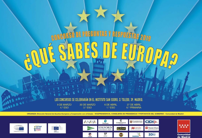 Edificios emblemáticos de la UE, las doce estrellas de la bandera de la UE y los logotipos de las empresas patrocinadoras