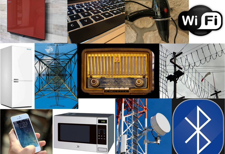 Collage de varios elementos que producen CEM: televisor, ordenador, secador de pelo, nevera, teléfono, microondas, radio, wifi, blutetooth