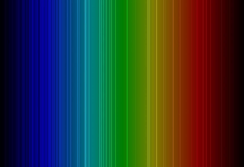 Espectro de colores en líneas verticales desde el azul a la izquierda hasta el rojo a la derecha