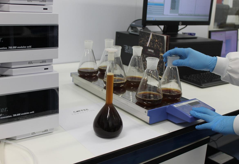 Varios matraces con líquidos en un laboratorio