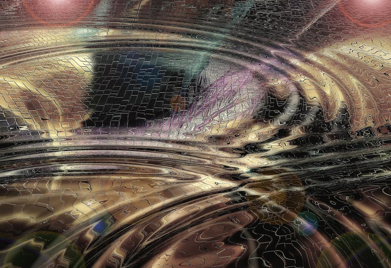 Ondas sobre fondo metálico similar a un puzzle de colores