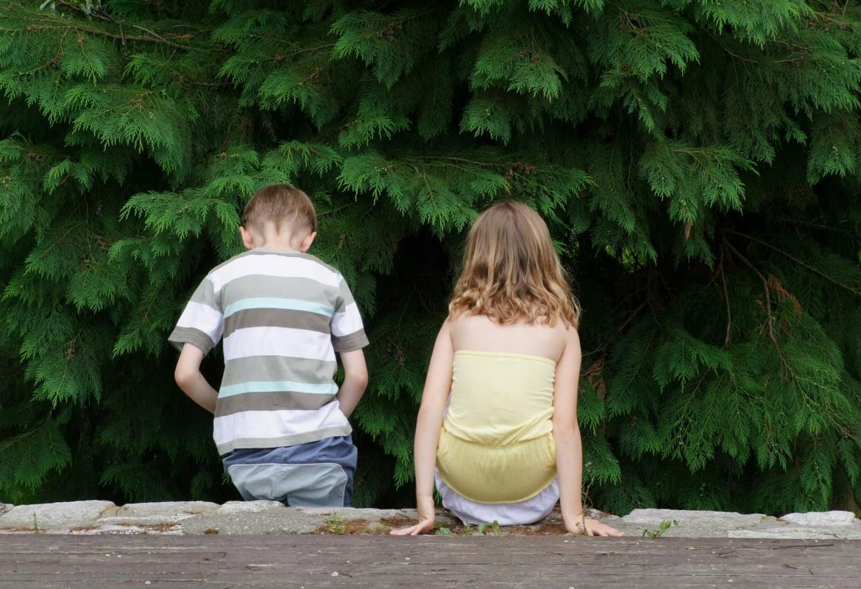 Dos niños de espaldas en el bosque