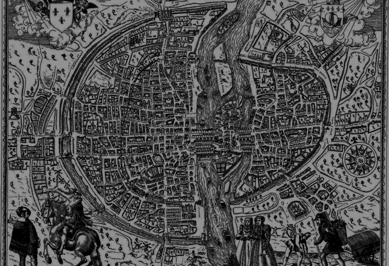 Imagen de un plano antiguo de una ciudad