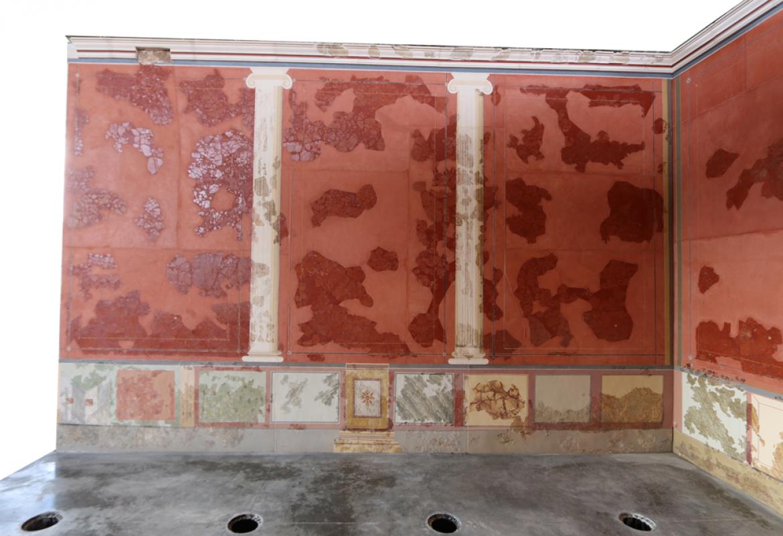 Detalle de las pinturas murales de la estancia E de la casa de los Grifos. Imagen, Sánchez Montes.