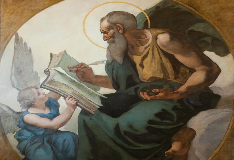 """Dos pinturas sobre lienzo de Eduardo Rosales, """"San Mateo"""" y """"San Juan Evangelista"""""""