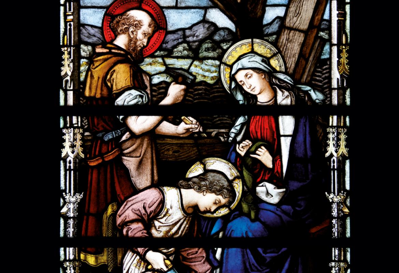 Jesús carpintero en el taller de San José RESTAURADA