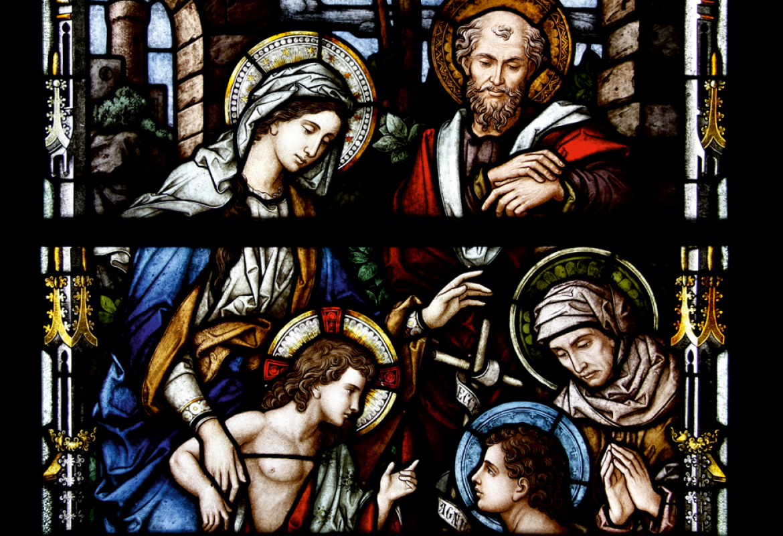 La Sagrada Familia con santa Isabel y san Juan Bautista Niño RESTAURADA