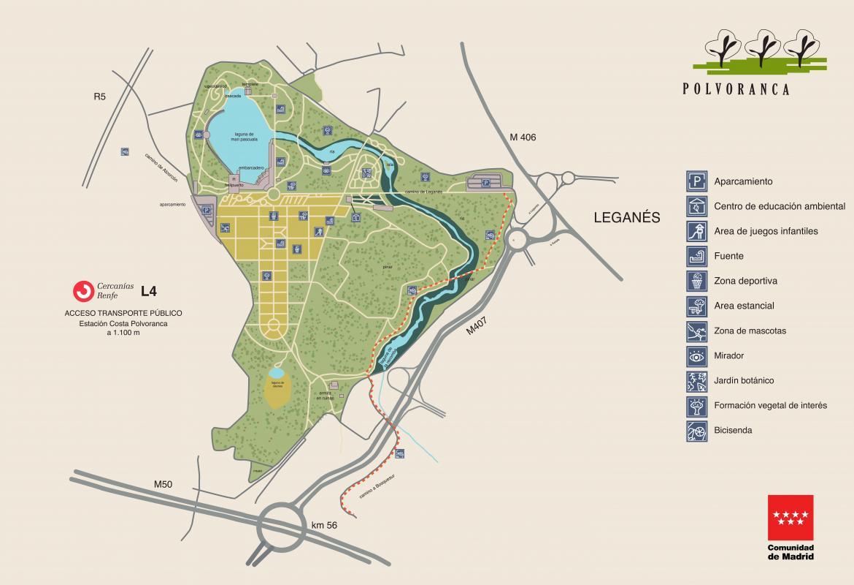Parque Forestal Polvoranca. Mapa de localización