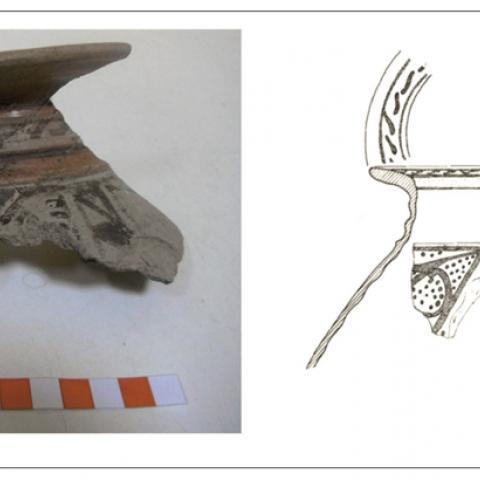 Imagen de fragmento cerámico con caballo pintado del yacimiento de la Fuente de la Mora