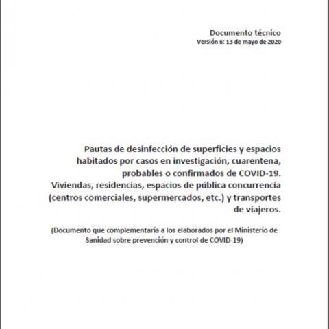 Pautas de desinfección por COVID-19 Viviendas, residencias, espacios de pública concurrencia y transportes de viajeros
