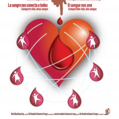 Cartel con un corazón del que caen gotitas