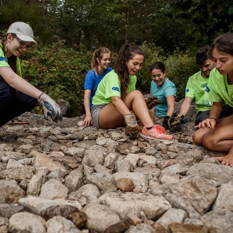 Grupo de jóvenes realizando trabajo en el campo