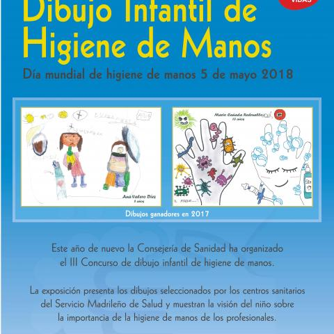 Cartel con los dibujos ganadores del concurso Higiene de Manos