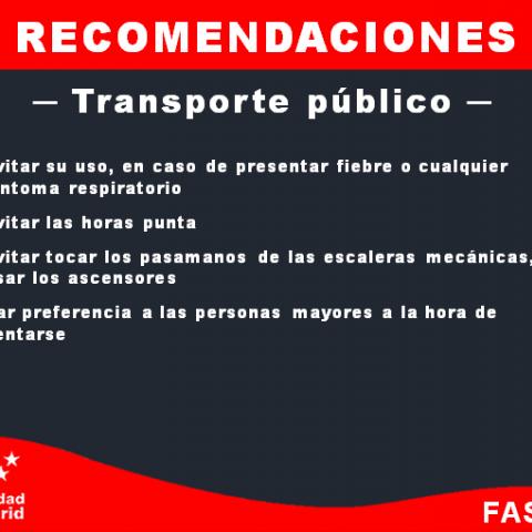 Recomendaciones transporte publico y privado