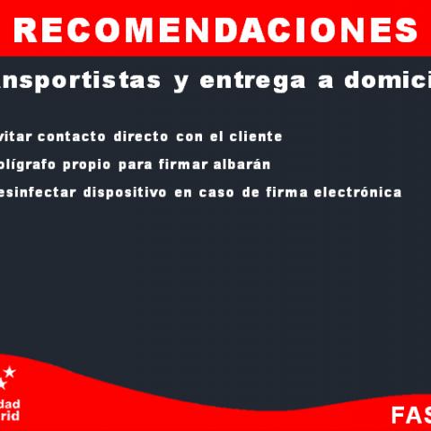 Recomendaciones - Transportistas y entrega a domicilio