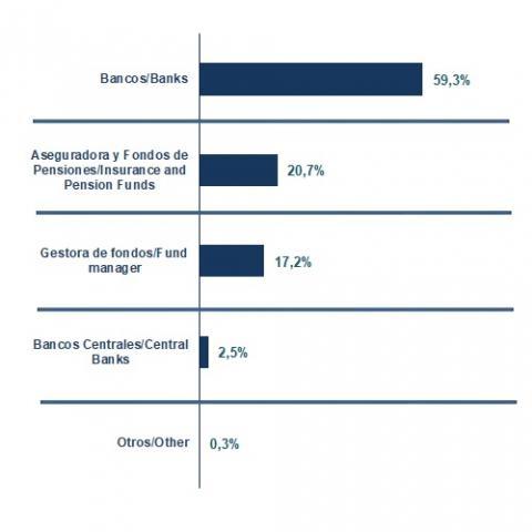 Distribución de lo emitido en 2020 por tipo de inversor