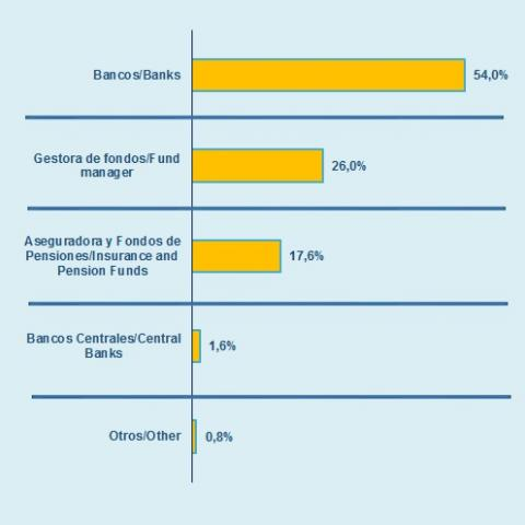 In 2017, about 70% of the loans and issuances of the Community of Madrid have as a counterpart two types of investors: banks and fund managers, while the remaining 30% are in the hands of insurances and pension funds (19.4%) and Central Banks (11.6%).