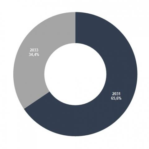 Distribución de lo emitido en 2021 según vencimiento