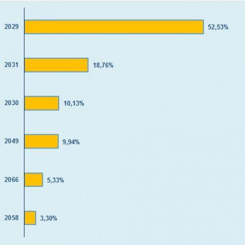 Distribución de lo emitido en 2019 según vencimiento