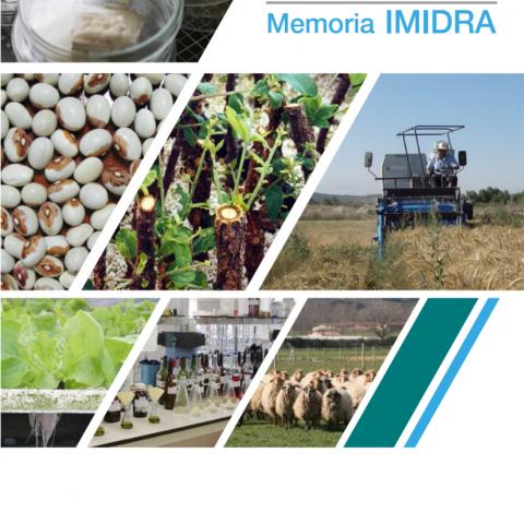 Portada de la Memoria IMIDRA 2017 a modo de collage con distintas imágenes de los departamentos del IMIDRA