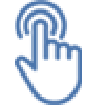 Mano azul realizando acción de pulsar
