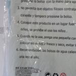 Bolsa de agua etiqueta